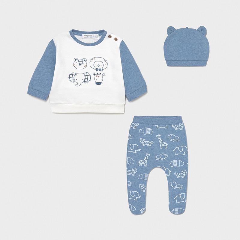 Conjunto polaina y gorro recién nacido niño con un estampado de animales muy dulce y divertido, ideal para regalar.