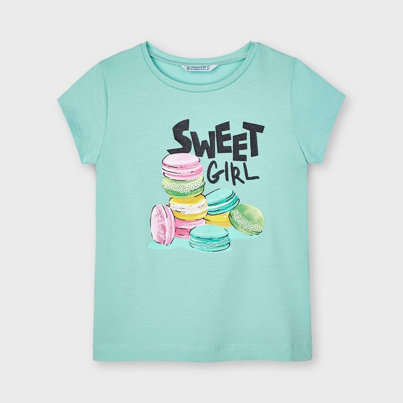 Camiseta manga corta serigrafía esmeralda Mayoral. Suave tejido de algodón elástico. Elementos de adorno: dibujo en la parte delantera.