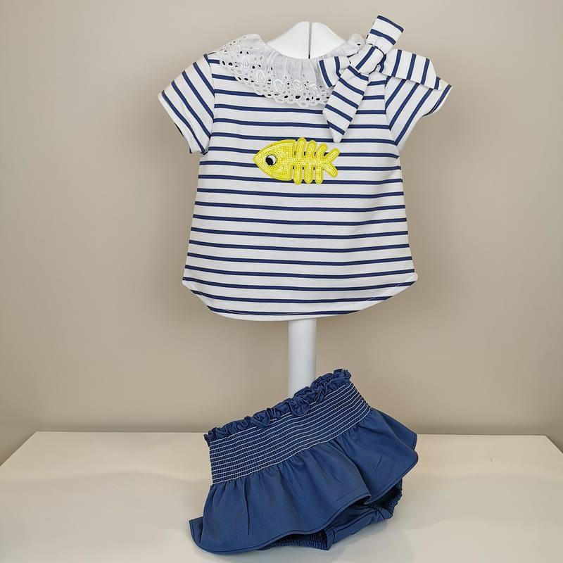 Conjunto marinero valentina bebes niña. Conjunto de camiseta de punto. Braguita en tela de algodón en azul. Lazada lateral al tono.
