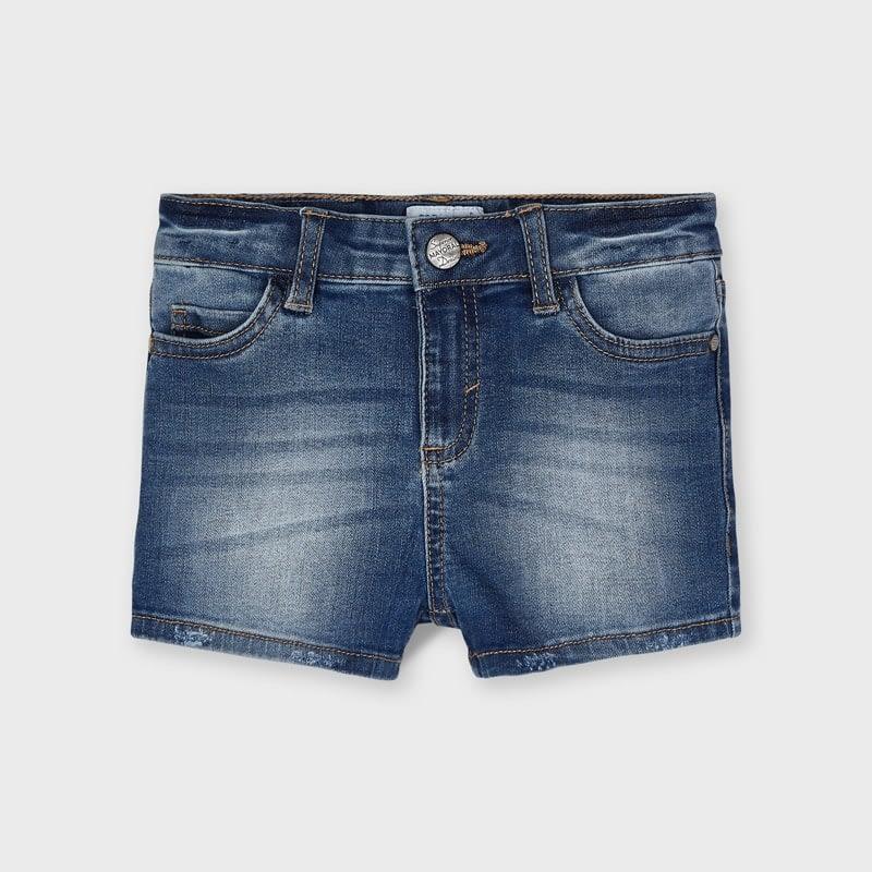 Prenda ECOFRIENDS contiene algodón orgánico Pantalón de tipo short para niña de 2 a 9 años. Cierre con botón a presión en la parte delantera y goma elástica regulable en la cintura para ajustar el talle.