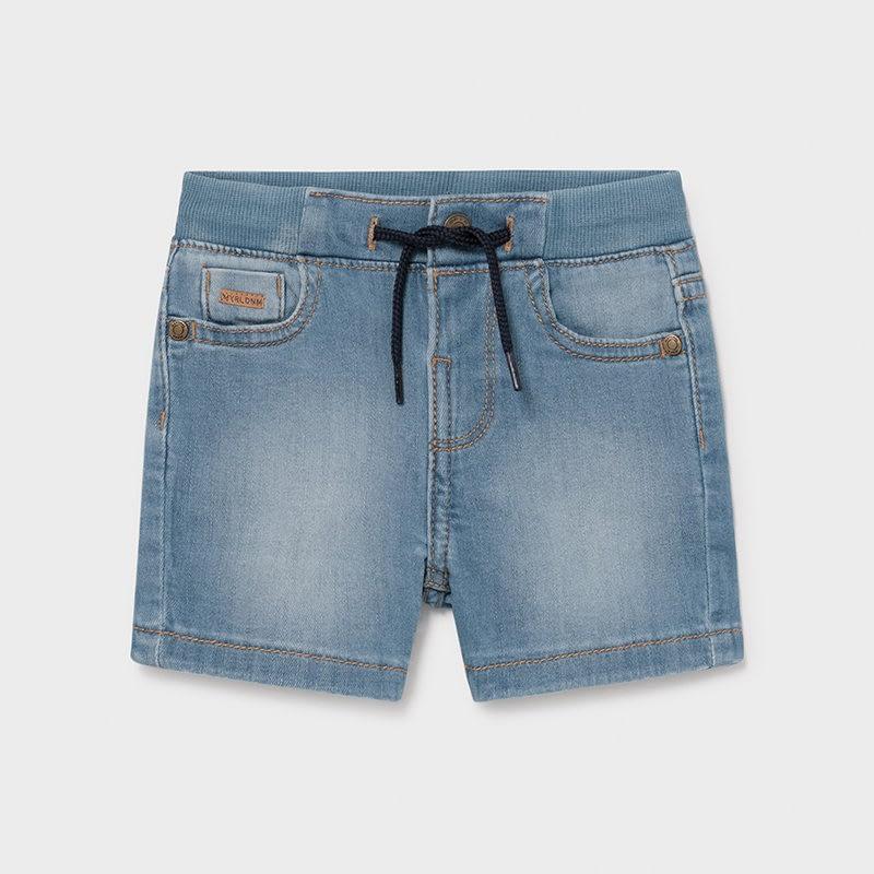 Pantalón corto vaquero bebé niño. Cintura elástica con cordón ajustable. Tejido vaquero cómodo y combinable para los looks diarios.