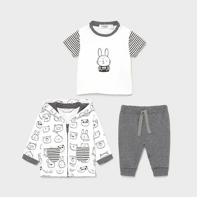 Chándal tres piezas recién nacido animales antracita. Ideal este conjunto gris y blanco. Chaqueta cremallera, camiseta, pantalón.