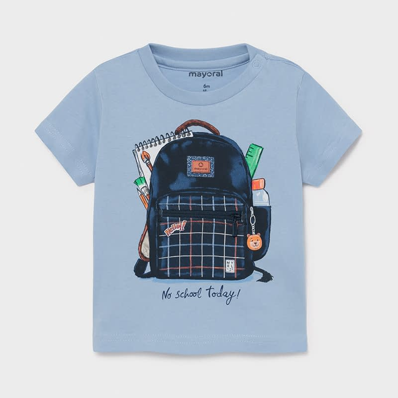 Camiseta PLAY WITH mochila interactiva bebé niño. Camiseta de manga corta. Tejido 100% algodón. Motivo PLAY WITH interactivo piezas movibles.