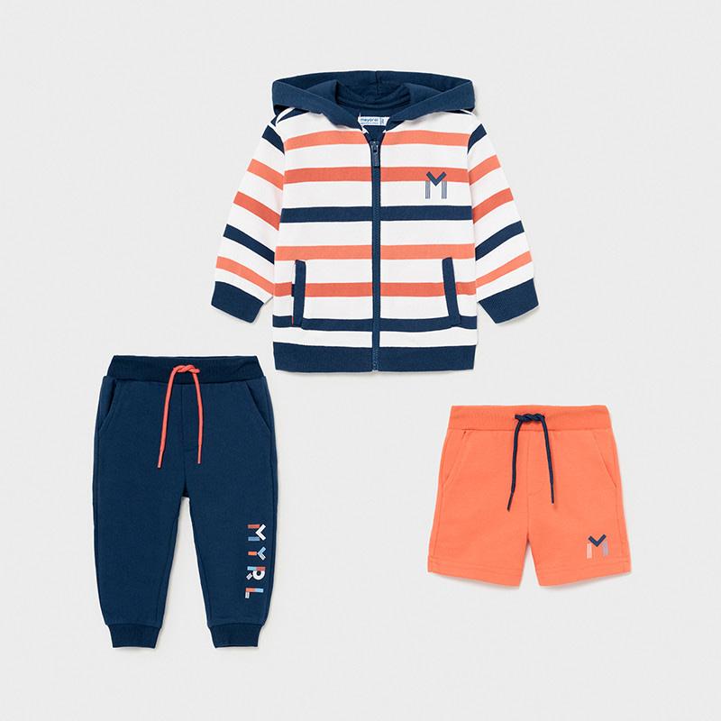 Chándal rayas 3 piezas bebé niño Mayoral. Compuesto por una sudadera y dos pantalones deportivos, uno corto y otro largo. Naranja/Marino.